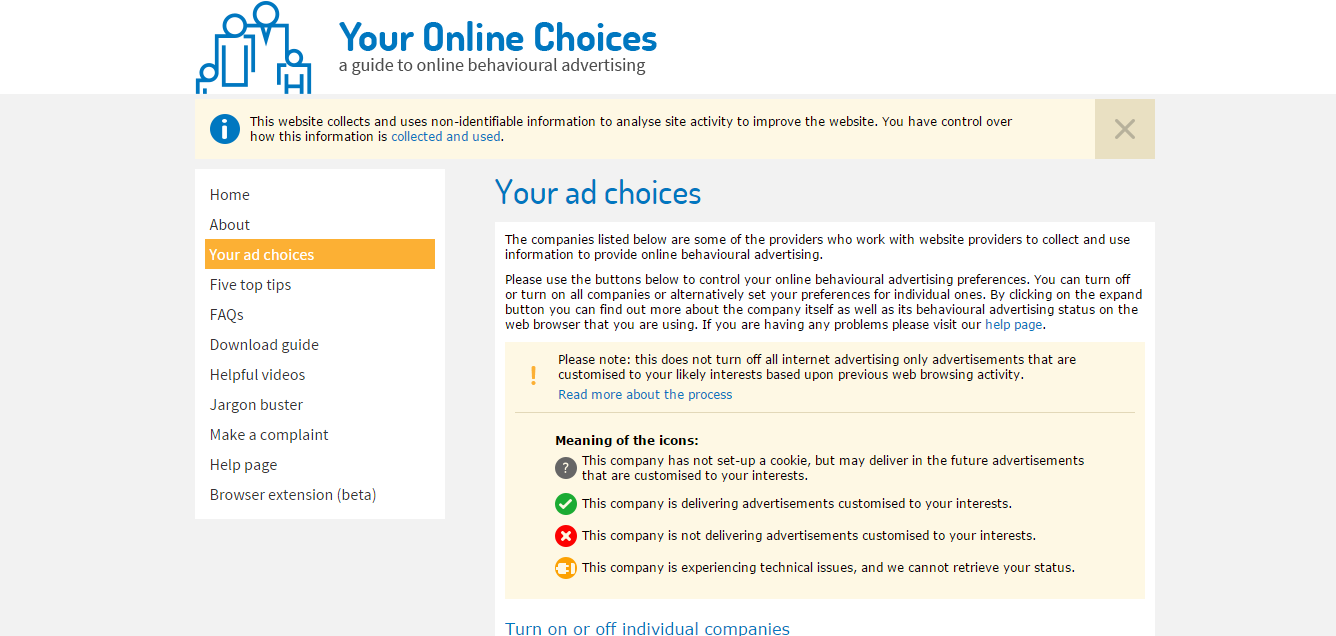 The youronlinechoices.com website