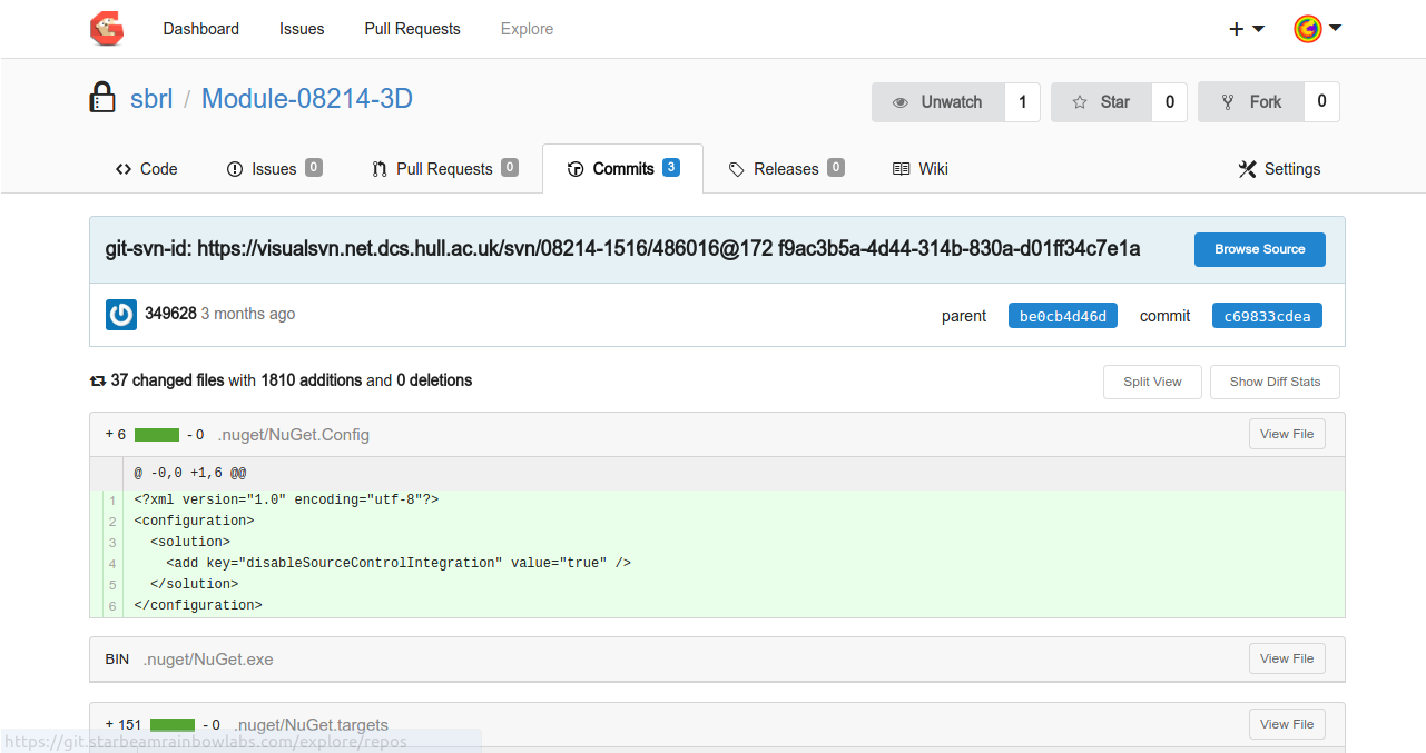 An example diff view from Go Git Service.