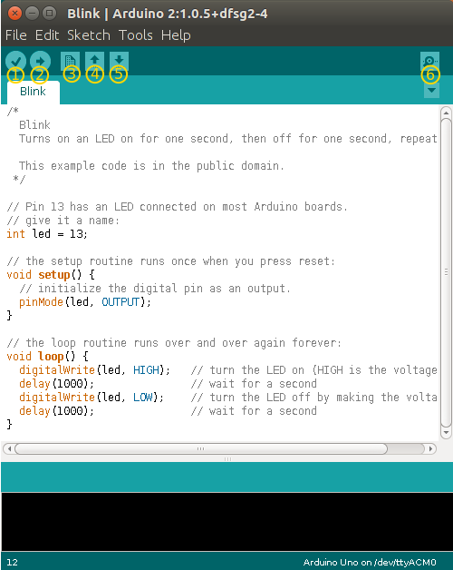 The Arduino IDE interface.