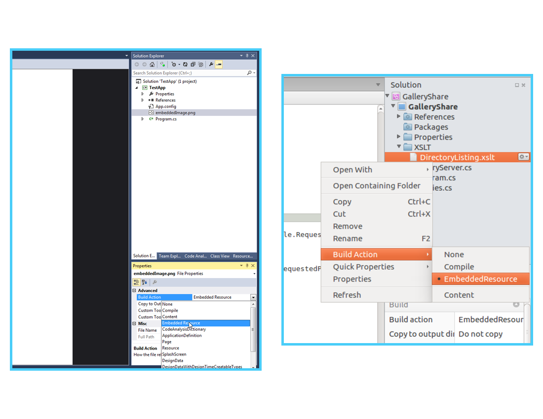 Setting the build action in Visual Studio and MonoDevelop.