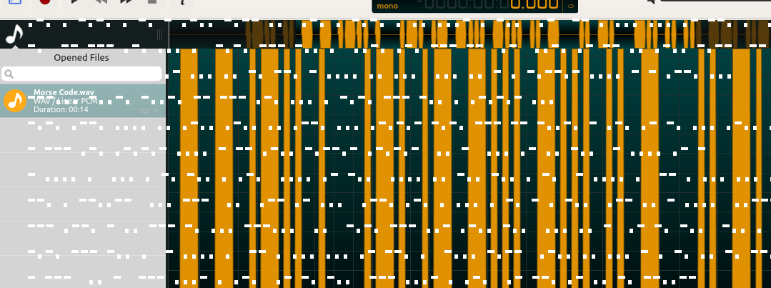 A banner full of morse code. The depicted audio processing program in the background is ocenaudio.