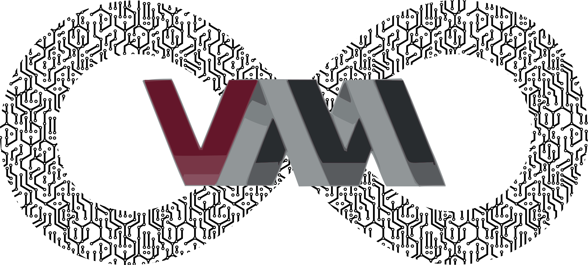 The virtual machine manager logo, with a stylised infinity symbol behind it.