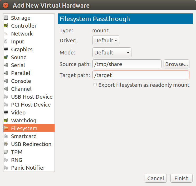 The add new filesystem passthrough box in vmm