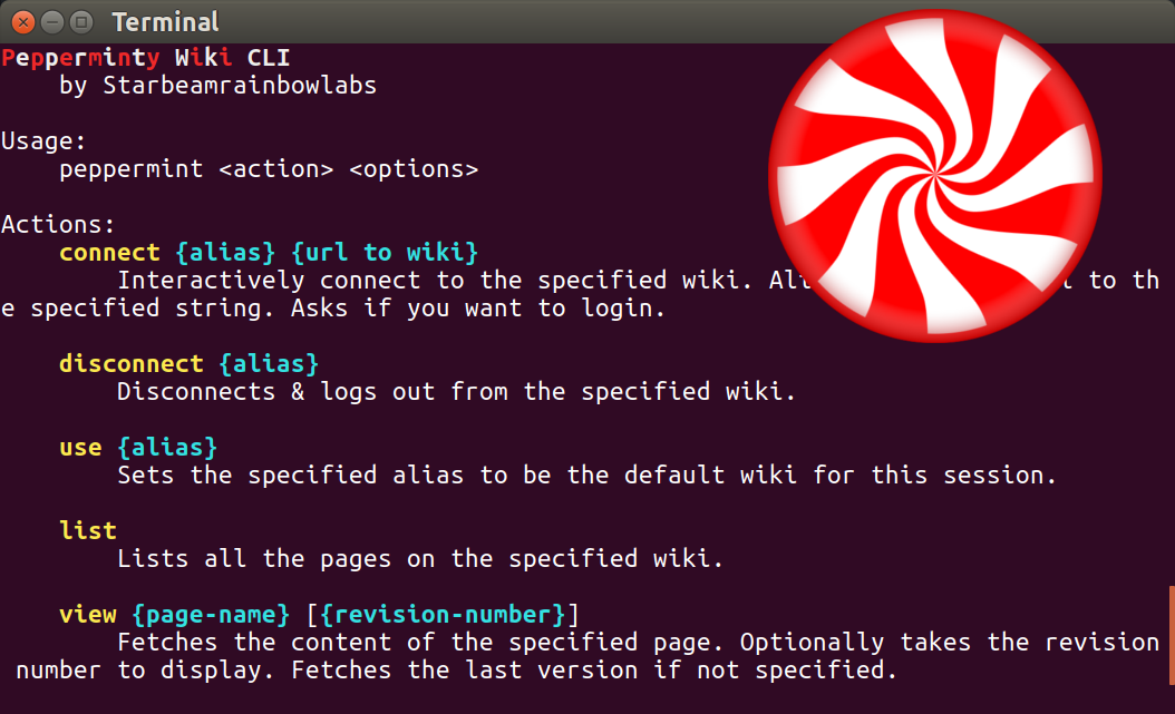 The Pepperminty Wiki CLI. in a terminal window, with a peppermint overlaid in the top left of the image.