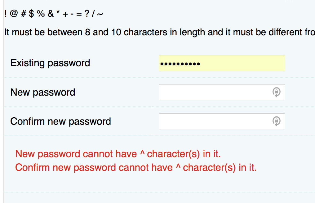 A laughably bad password policy that demands a password between 8 and 10 characters in length.