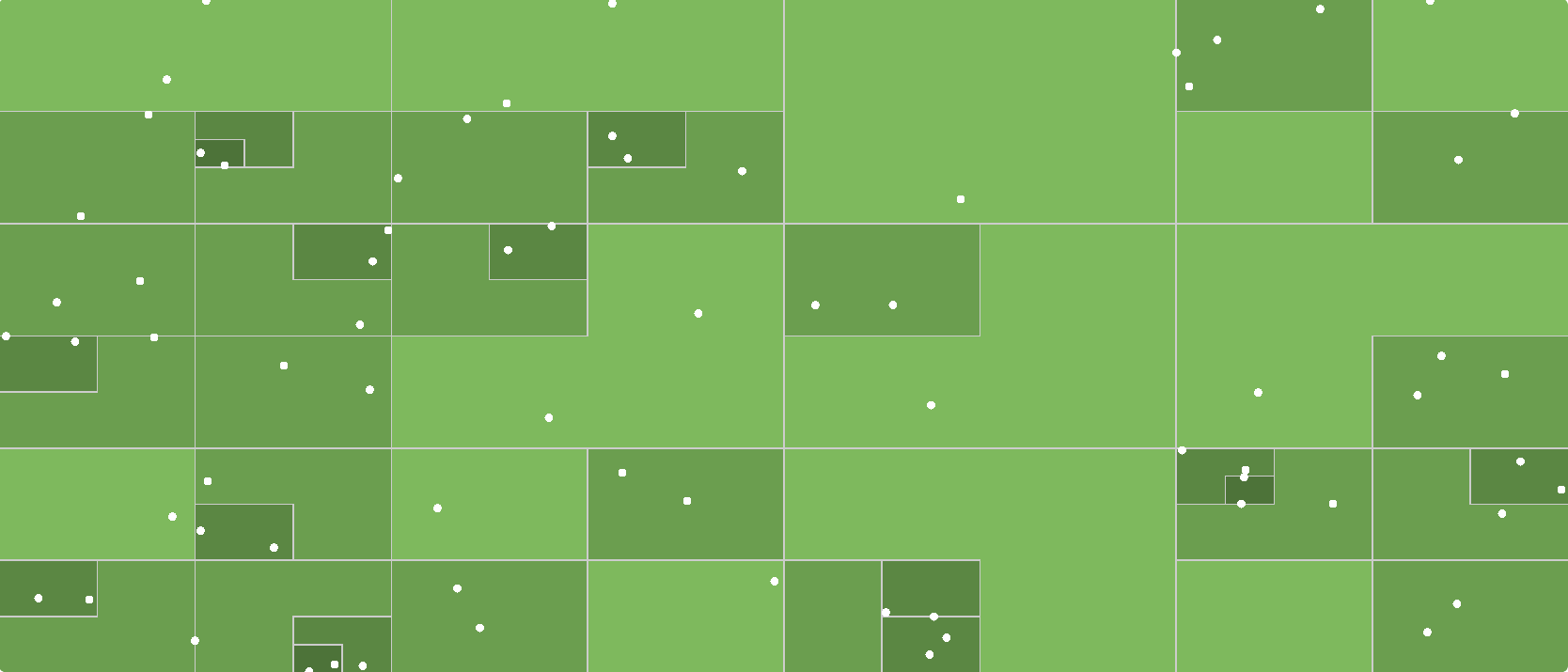An visualisation of an example QuadTree from the page I linked to above.