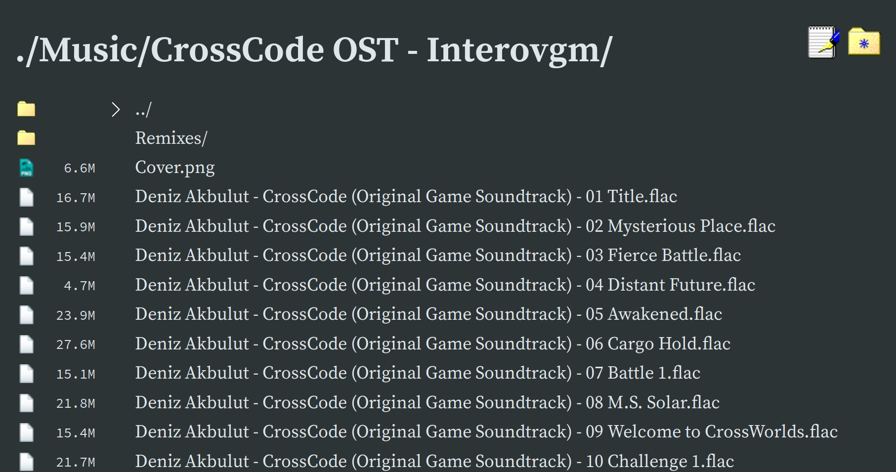 A screenshot of Gossa listing the contents of my CrossCode music folder. CrossCode is awesome, and you should totally go and play it - after finishing reading this post of course :P
