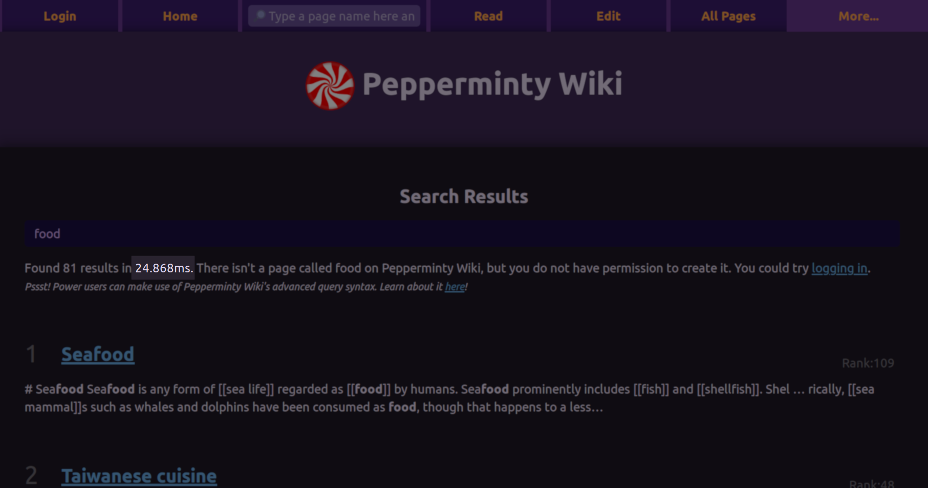 A screenshot of the Pepperminty Wiki search results on the test wiki for the word food, showing the new dark theme coming soon!