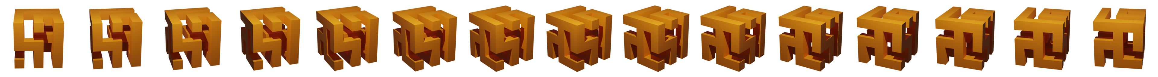 A divider made up of orange renders of a small 7x7x7 maze rotating
