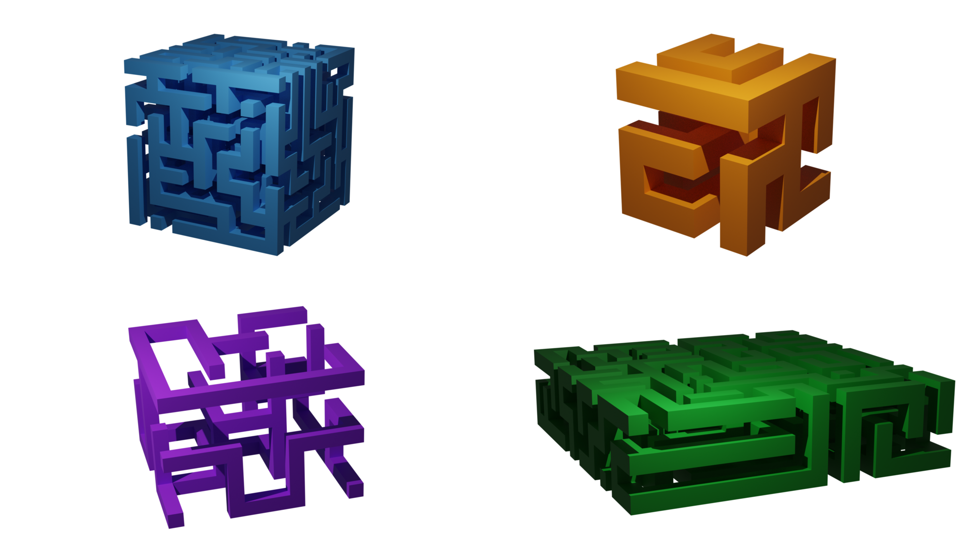 Some renders in Blender with cycles of the output of the 3D maze generator
