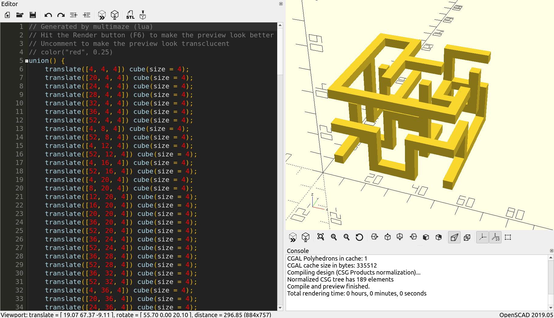 A screenshot of OpenSCAD showing a generated maze.