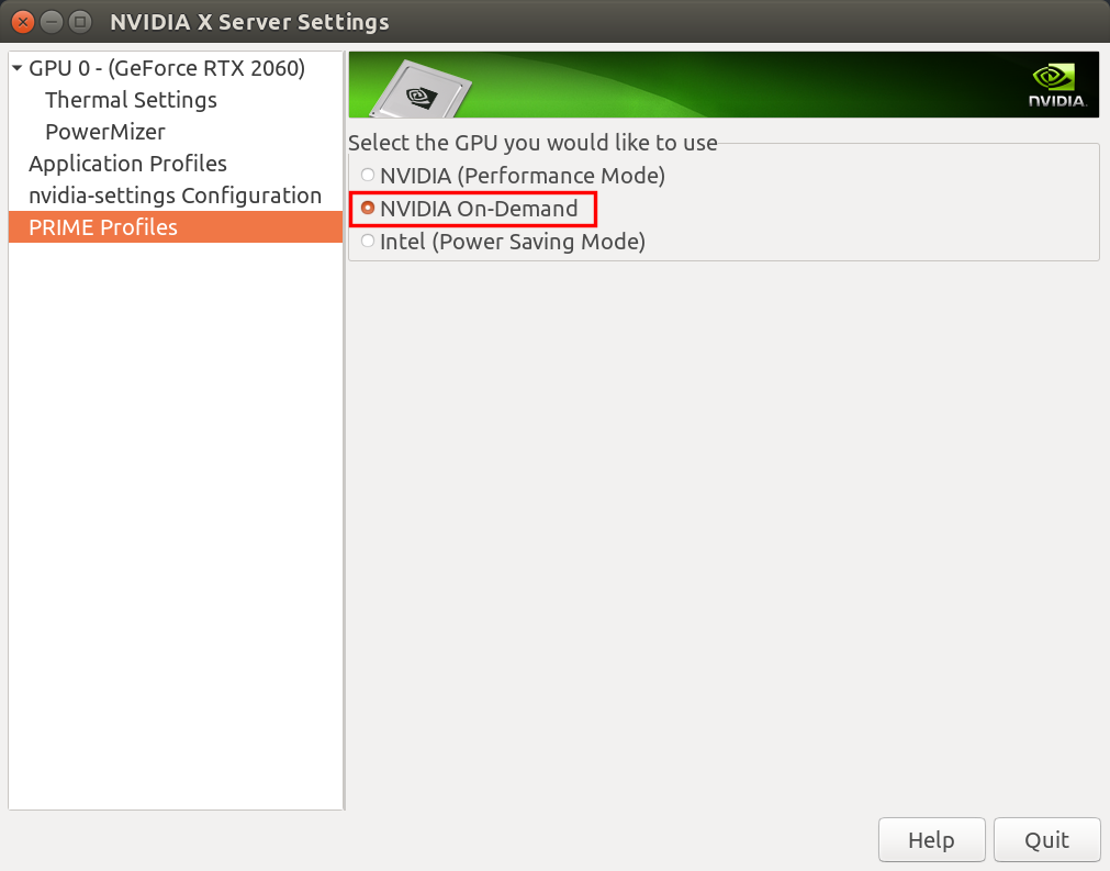 The NVIDIA X Server Settings dialog showing the correct configuration as described above.